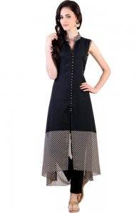 black front slit kurti