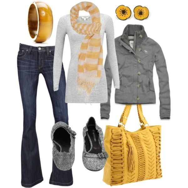 A splash of color with grey or black and voila!: Fashion, Style, Purse, Grey Yellow, Yellow Outfit, Fall Outfit, Gray Yellow