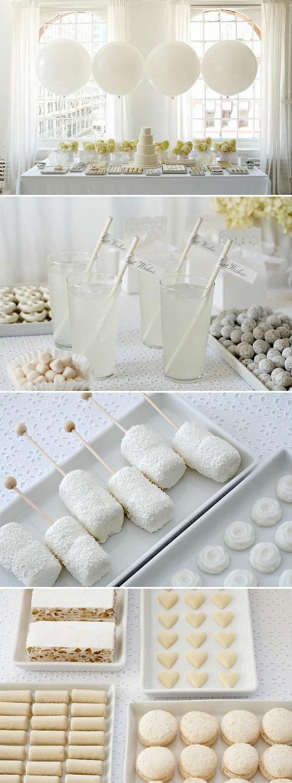 White wedding confectionary - favours idea...marshmallow, meringues, nougat, macaroons.