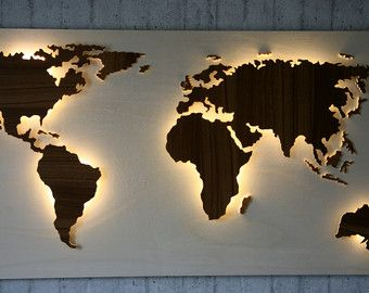 Handmade Back Lit Wooden World Map Vintage Style Customisable