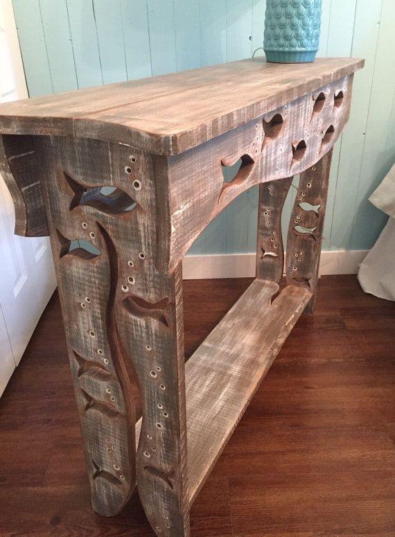 Wood School of Fish Sofa Table Hall Side Console by CastawaysHall