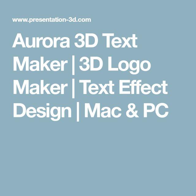 Aurora 3D Text Maker | 3D Logo Maker | Text Effect Design | Mac & PC