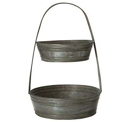 Tiered-Tin-Basket: would be great for fruit/vege storage or plant display