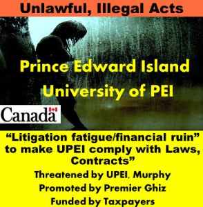 """Documented Threats (July 2011) of Corrupted """"PEI Human Rights Commission"""" Mediation were followed through (Nov 2011- June 2012): There is corrupted and bad faith mediation, as well as, a corrupted ..."""
