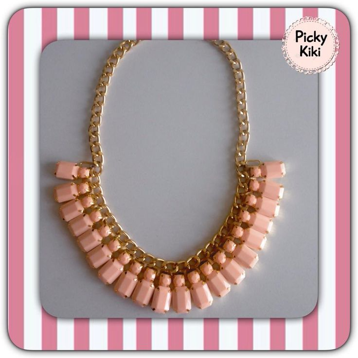 Statement with salmon-like color stones and a golden aluminum chain that will not go black! ;) | Picky Kiki