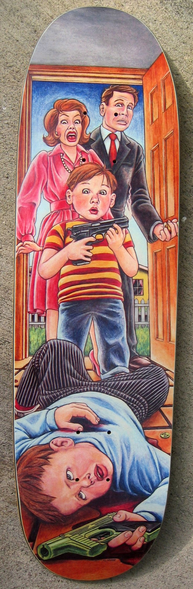 «Accidental Gun Death« Guy Mariano pro model by Blind skateboards – 1992 – Art by Marc McKee