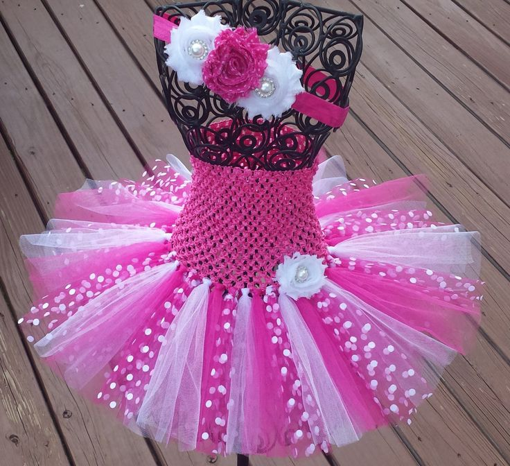 Pink White & Pink with White Dots Tutu Dress and Headhand Set,Birthday,flower girl,ballerina,photo prop,costume, infant, baby, toddler, girl by BottomsNBows on Etsy https://www.etsy.com/listing/193545893/pink-white-pink-with-white-dots-tutu