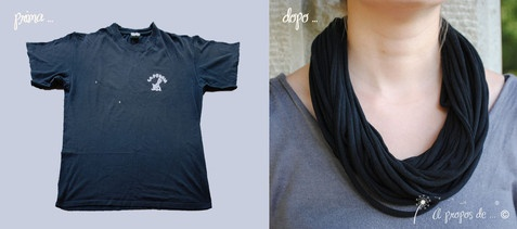 DIY, tutorial, restyling of an old t-shirt into a beautiful necklace by Atelier Faggi. restyling di una T-shirt in una collana-scaldacollo