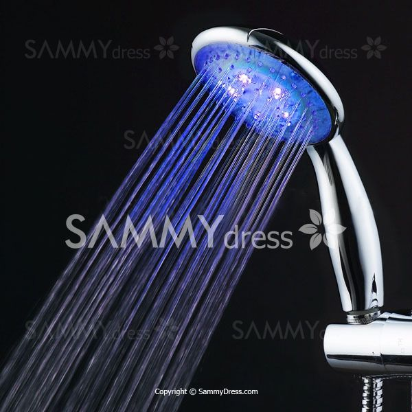 Stylish Muti-Color Changing LED Light Round Head Handheld Shower Head