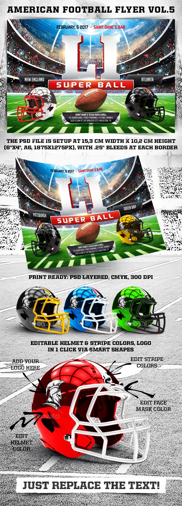 "American Football Super Ball Flyer vol.5 by 4ustudio ""American Football Super Ball Flyer vol.5�20for advertising American football tournaments, matches, events and everything related t"