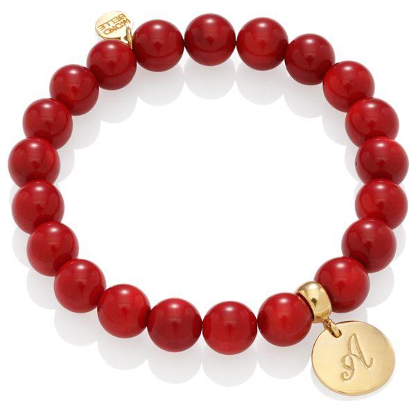 Czerwone koralowce z literką A #bracelet #jewellery #jewelry #love #red #gold #fashion #mokobelle