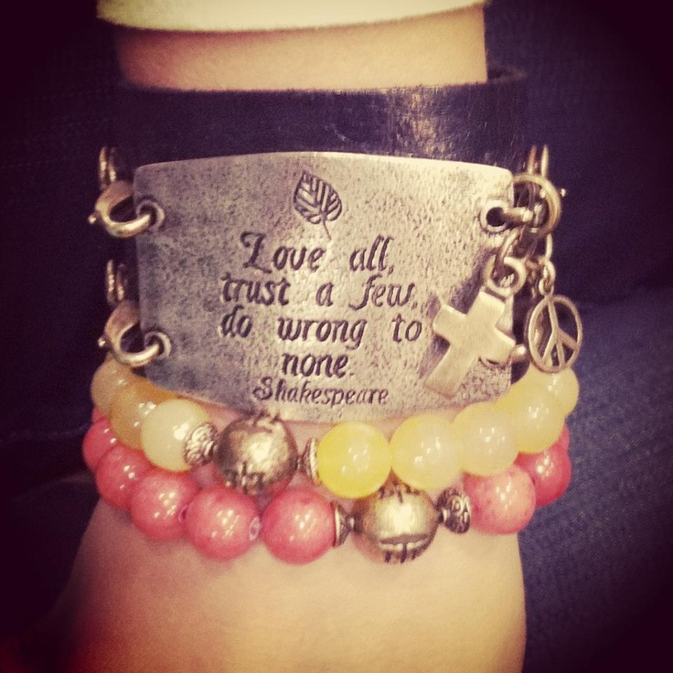 Shakespeare on Lenny and Eva...I want one of these bracelets for my bday! Not this exact saying, but LOVE the style.