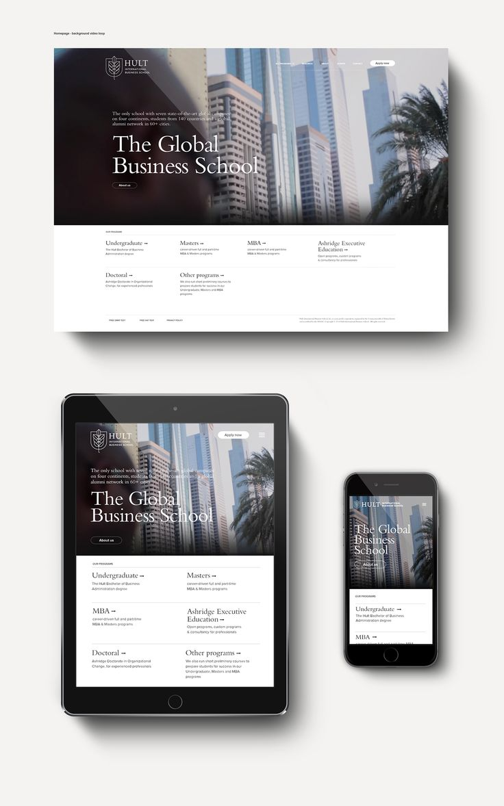 Hult International Business School digital rebrand.May to September 2015