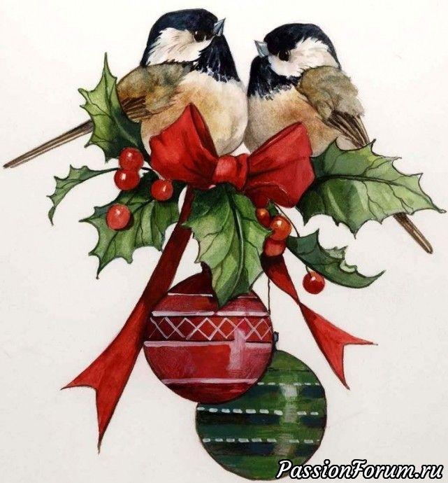 Новогодние картинки птички