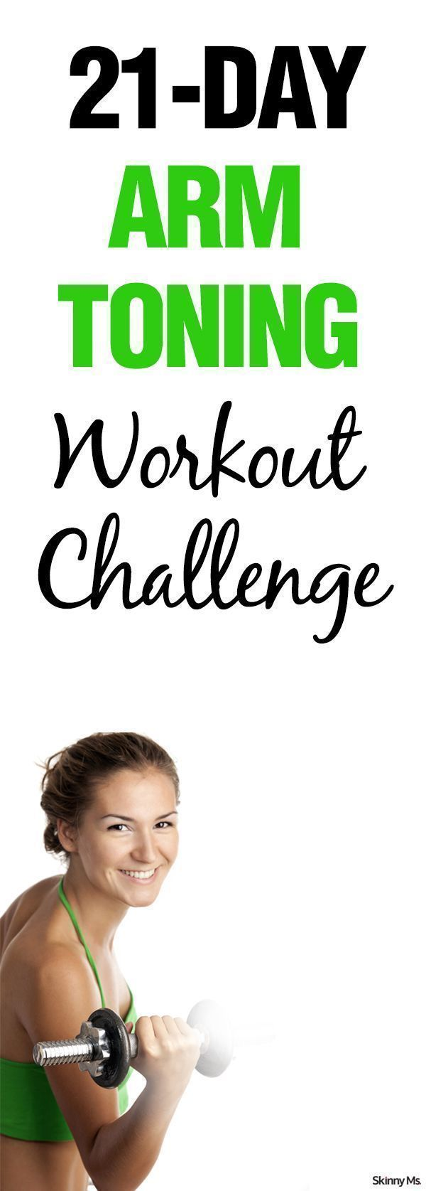 Just three weeks will get you to those beautiful buff biceps--The Skinny Ms. 21-Day Arm Toning Workout Challenge.