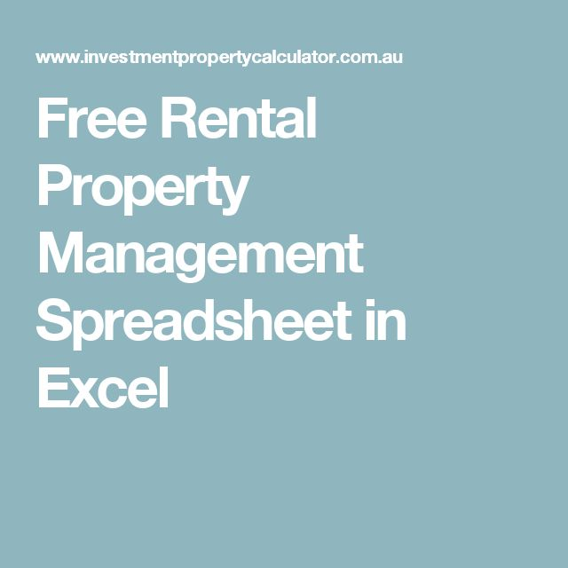 Free Rental Property Management Spreadsheet in Excel Accounting in