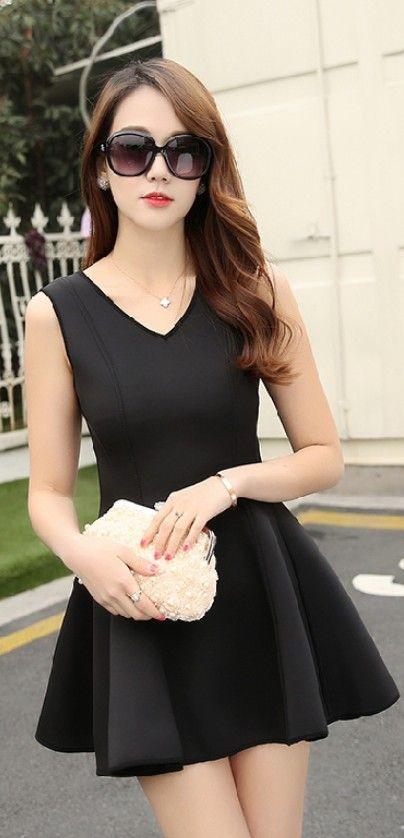 Black A-line Sleeveless Short Dress YRB0703