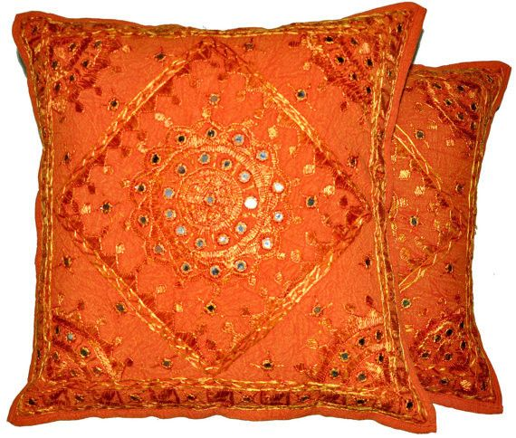 2pc orange decorative Throw Pillow, Indian Mirror Work Pillow, Decorative Gypsy PIllow, Ethnic Indian Floor Pillow Bohemian Pillow cushion