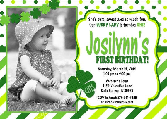 St. Patrick's Day Birthday Invitation First Birthday Invitations Multi Green Stripe and Dots by LifesDigitalDesigns • $14.00
