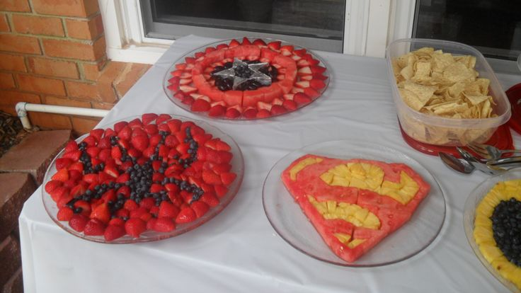 Superhero birthday party fruit trays