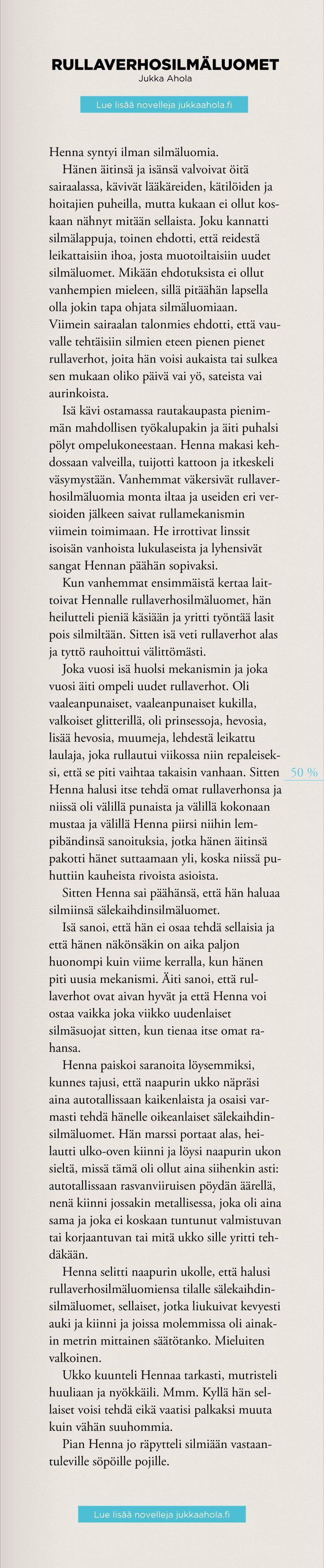 Rullaverhosilmäluomet on novelli julkaisemattomasta kokoelmastani Yhdellä viivalla piirrettyjä ihmisiä. Lue kokoelman parhaat novellit blogissani.  #novelli #kirjoittaminen #lukeminen #novellikokoelma #suomalainennovelli