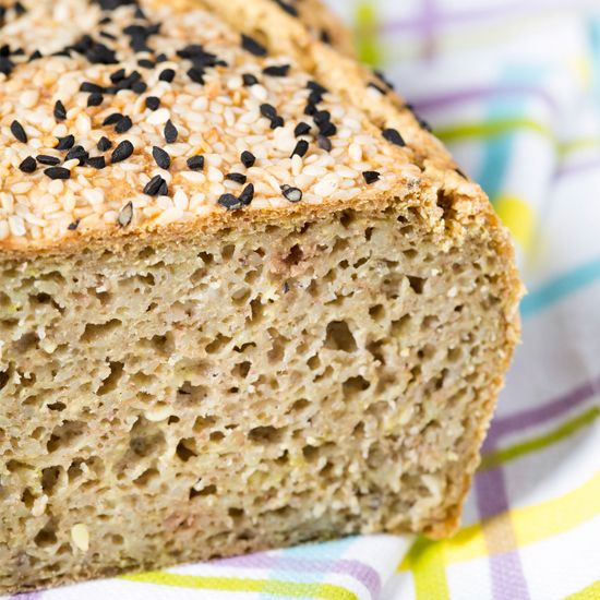 Fluffy gluten-free sourdough bread made with buckwheat and seeds. This bread is very healthy containing only 4 ingredients. Great for sandwiches or toasted with jam!