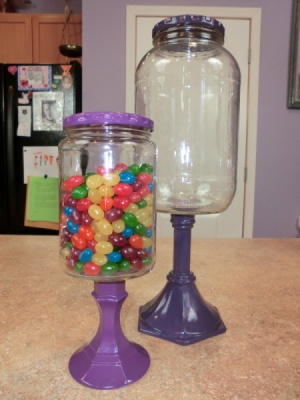 pickle jar, any size      glass candle stick holder      white primer      spray paint, any color      E6000 glue