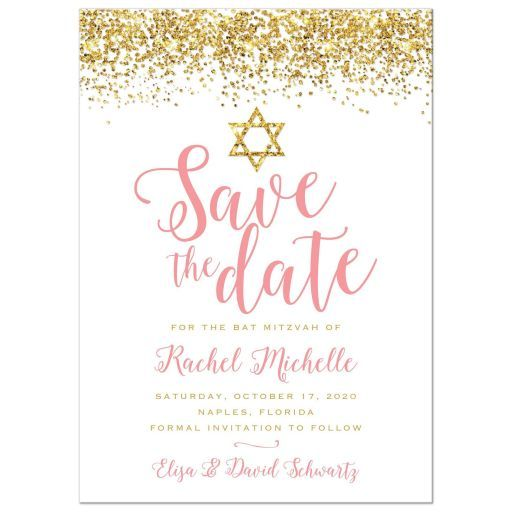 Bat Mitzvah Save the Date Cards - Gold Glitter Look Confetti Joy