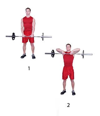 Barbell Upright Row -- great for the front deltoids and traps