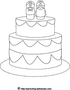 wedding cake coloring page for the kids table