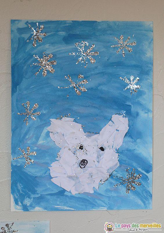 Ours Polaire En Collage Et Peinture Aquarelle Peinture Aquarelle