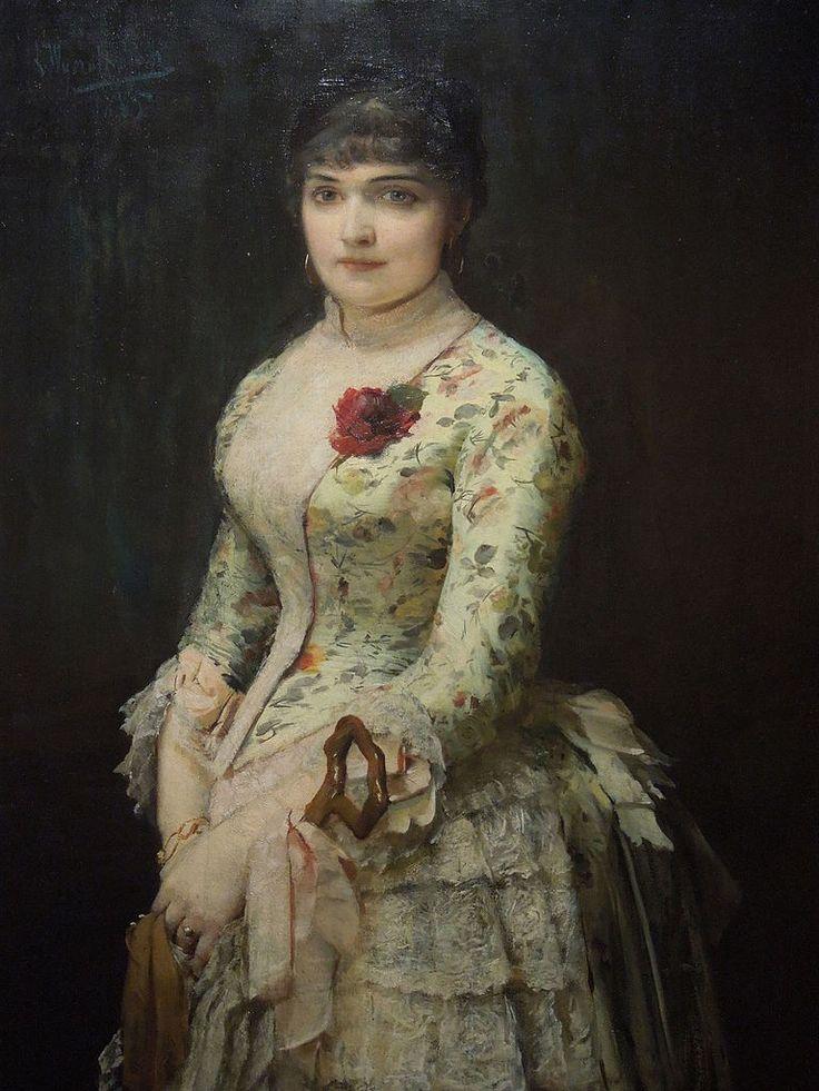 Leon Wyczółkowski - Portrait of Woman with a Rose (1885)