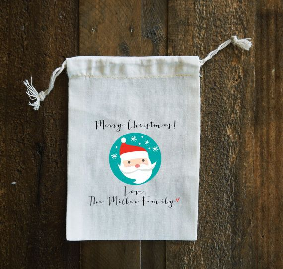 Santa Personalized Christmas Muslin Gift Bags set by FINCHandFOX