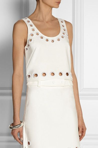 3.1 Phillip LimEyelet-trimmed cotton-blend twill top