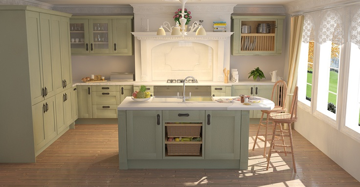 Shaker Sage Timber  //  I love the lightness of this kitchen and its use of soft green and blue