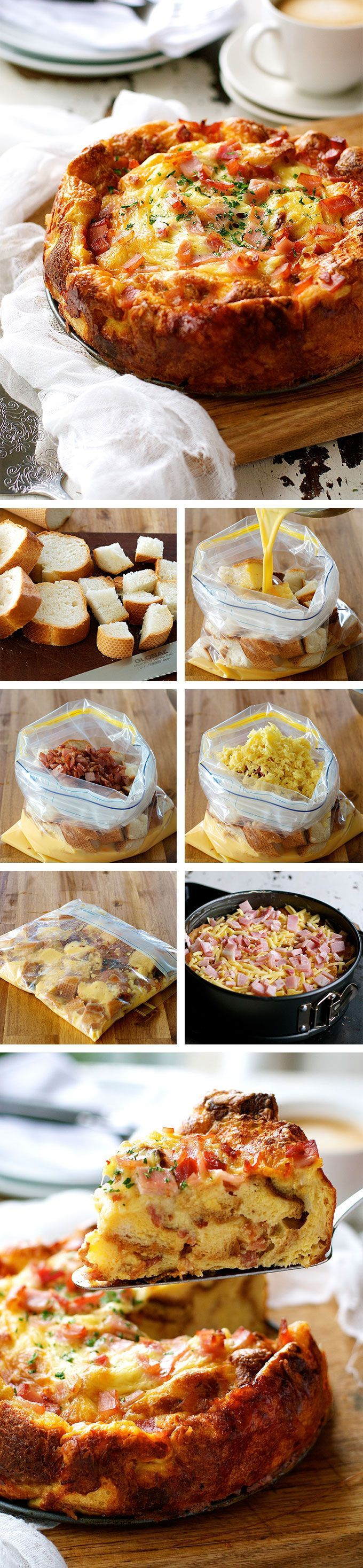 Cheese Bacon Strata Cake - made with bread, eggs, milk, cheese and bacon. Great make ahead dish.