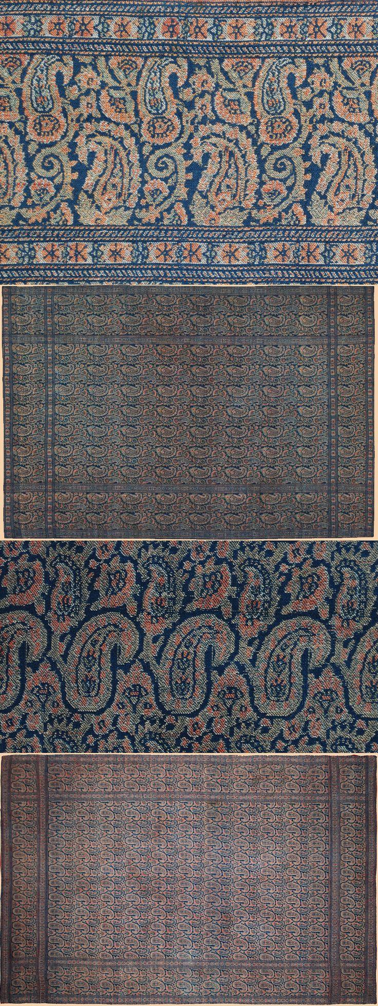 "Persian Shawls - TextileAsArt.com, Fine Antique Textiles and Antique Textile Information  Antique Persian Kerman Shawl Wool Termeh Qajar Dynasty 1795 -1925 A.D Circa 1850  Size 55"" x 34"" Size 140 x 87cm"