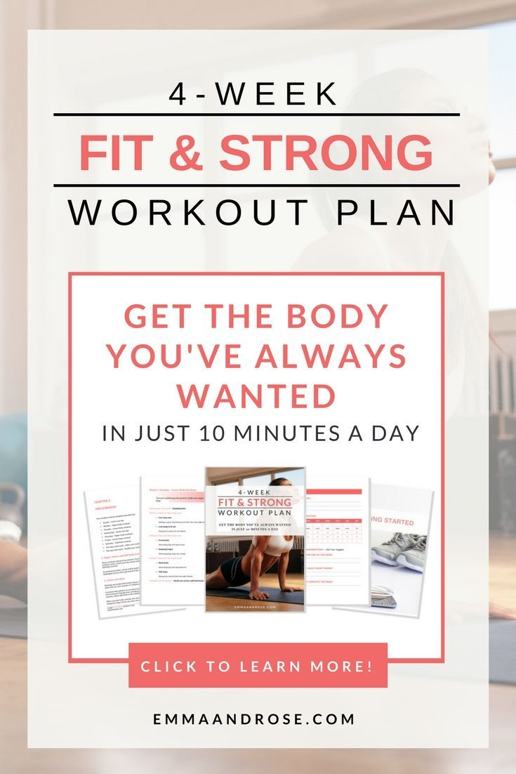 Ready To FINALLY get the FIT & STRONG BODY you've always wanted?  You can with this 4-weekworkout plan specifically designed to get you fitter and stronger in only 10 minutes a day.  ✅ Get a plan with workouts designed specifically to build a leaner, fitter body without spending hours at the gym.  ✅ Build the confidence to stay committed to your plan.  ✅ Learn how to stay consistent with your plan no matter how busy or hectic your day is.  :whi