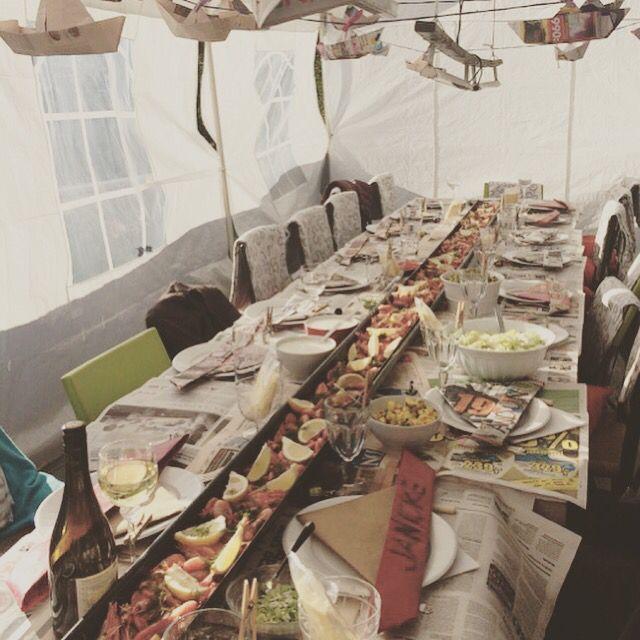Tablesetting for The summer party borddekking til rekefesten