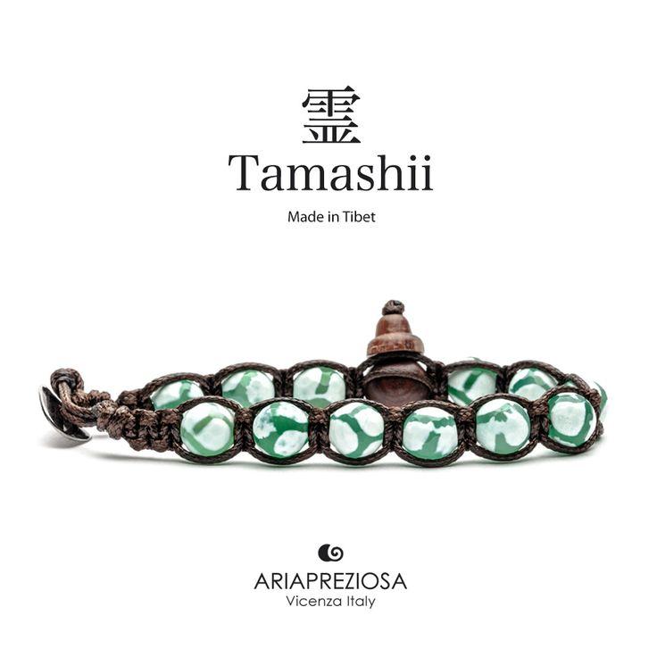 Bracciale originale Tamashii Painted realizzato con pietre naturali AGATA VERDE dipinta col. BIANCO.