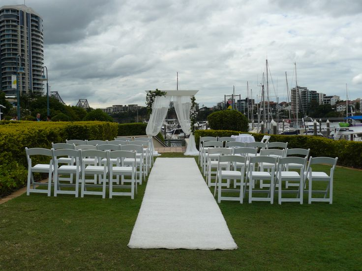 The wedding ceremony area at The Landing at Dockside Brisbane Celebrant Neal Foster The Marriage Celebrant performs weddings here.