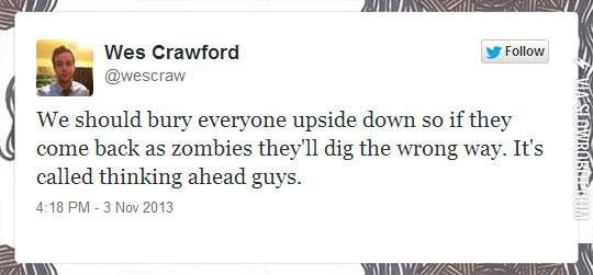 Thinking ahead in case of zombies
