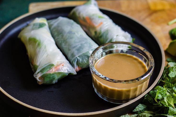 vegan rice paper rolls + mandarin-tahini dipping sauce   theswirlingspoon.com