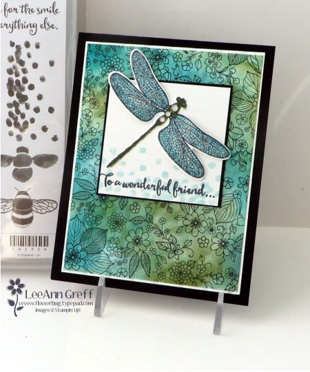 I was designing a card for my Team Swap a few weeks ago and decided to use the Dragonfly Dreams and Inside the Lines Designer paper. I thought they went beautifully together.    Dragonfly Dreams is a