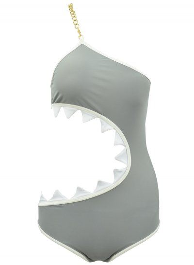 Vacation Shark Mouth Shape One Piece Polyester Spandex Swimsuit NOVASHE.com