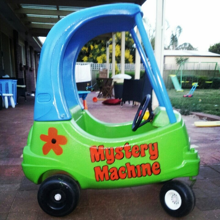 Scooby doo's mystery machine. Our boys pimped out cozy coupe.