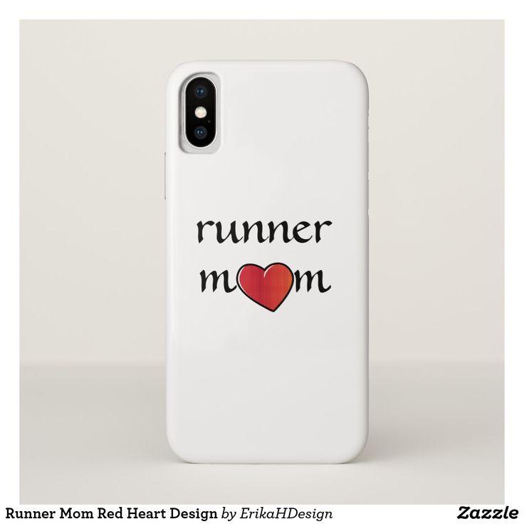 Runner Mom Red Heart Design iPhone X Case