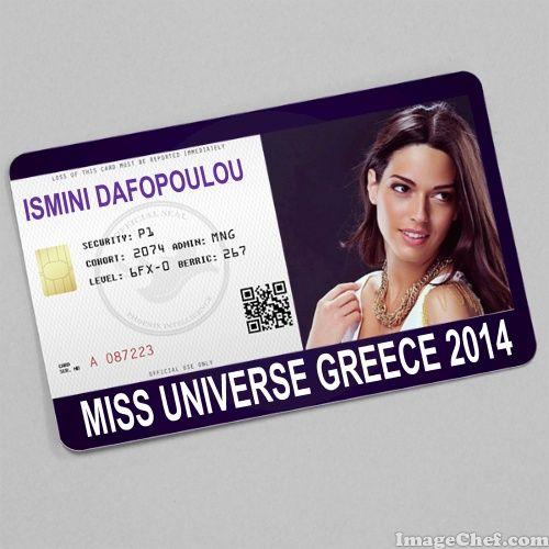 ISMINI DAFOPOULOU MISS UNIVERSE GREECE 2014 CARD