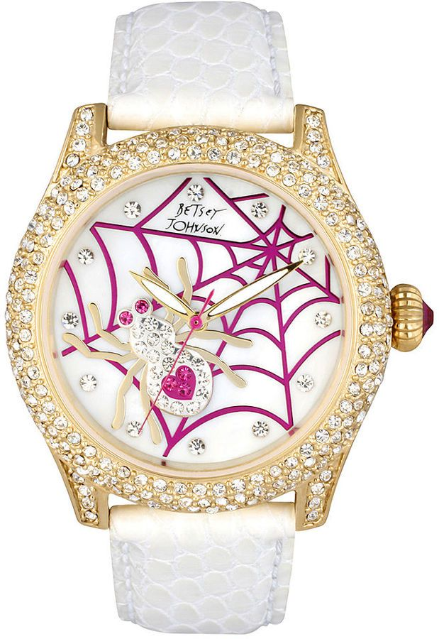 Betsey Johnson Watches On Sale   Betsey Johnson Watch, Womens White Leather Strap 41mm BJ00019-13 Sold ...