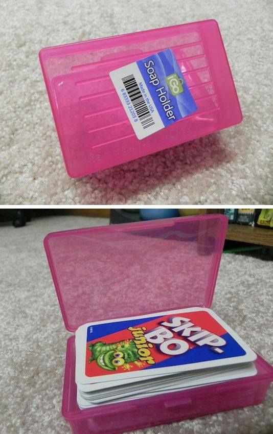 Use a cheap soap box to organize cards - I need this for all of Samara's games!